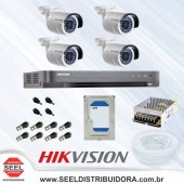 Kit CFTV 1MP 4 Canais - Hikvision