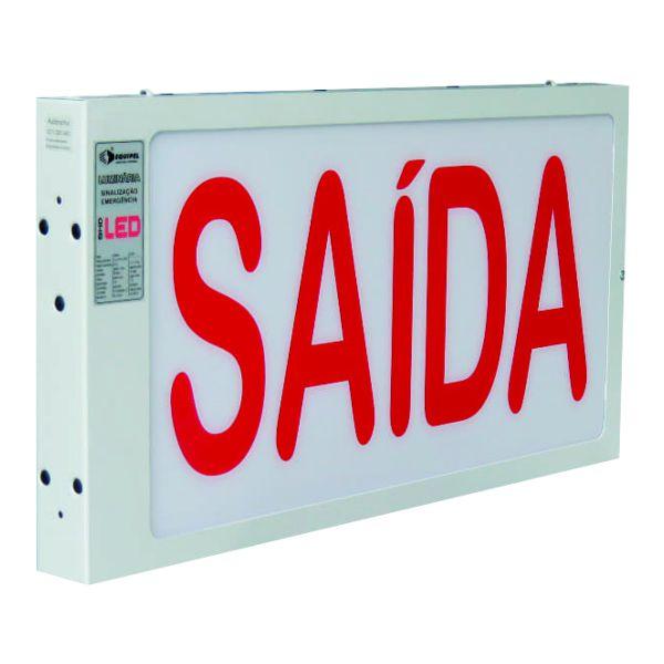 Luminária de Sinalização de Emergência Autônoma Saída 30x55 Dupla Face - Equipel